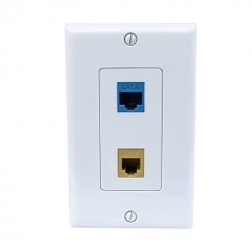 Easy installation 1 Cat3 Ethernet 1 CAT6 Ethernet Wall Plate