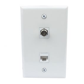 Easy Installation 1 Coax F Type and Cat6 Ethernet Port Wall Plate White