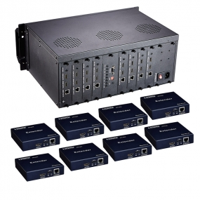 HDMI Matrix 8x8 extender Support POE RS232 bi-directional IR control CEC and RS-232 with 8 receivers