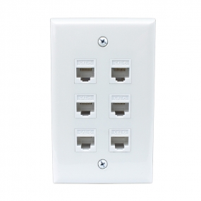 portable installation 6 Port Cat6 Female-Female Wall Plate White