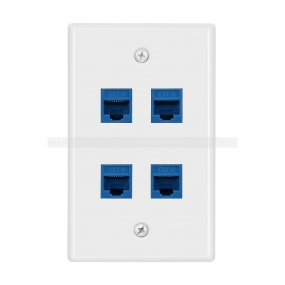 New 4 Port Cat6 Female-Female Wall Plate blue