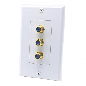 3 Port F jack connector Post Home Theater system Wall plate For USA