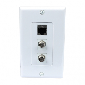 Combined 2 Port Coax Cable TV F Type and 1 Port Shielded Cat6 Ethernet Decora Wall Plate Decora