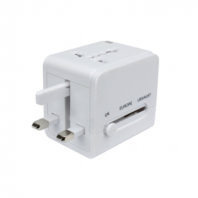 World Wide Travel Charger Adapter Plug Built-in Dual USB Suitable For All International Plug- White