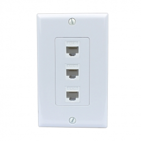 NEW 3 Port Cat6 Female-Female Removable Wall Plate White
