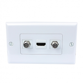 New portable installation 1 Port HDMI 2 Port Coax Cable TV F Type Wall Plate Decora