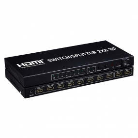 HDMI Switcher/Splitter 2X8 Support Ultra HD 4K x 2K | 3D 1080p  Includes IR Remote Control