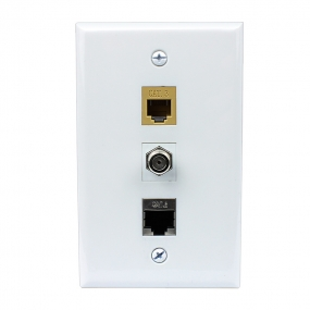 Combination 1 CAT3 and 1 Cat6 Shielded Coupler Keystone and 1 Coax Cable TV- F-Type Wall Plate Decor