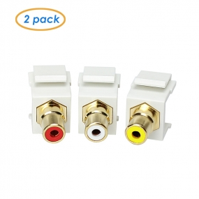 AllSmartLife 2-pack Keystone Jack Modular RCA with White Center - Red White Yellow
