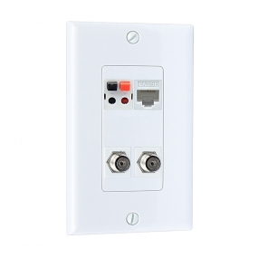 Home Improvement 2 Port Coax Cable TV F Type 1 Port Cat5e Ethernet 1 port Speaker  Wall Plates