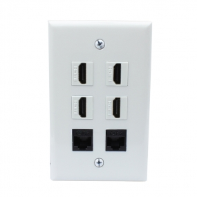 Combination 4 Port HDMI and 2 port CAT6 wall plate covers