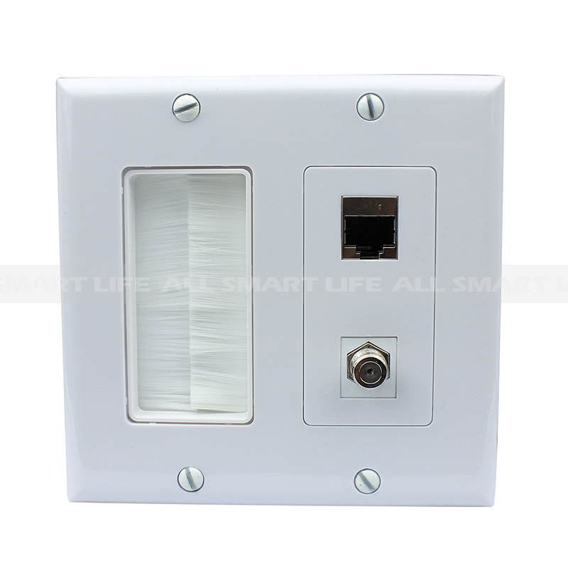 home wall plates custom wall plate convenient panel 1 gang brush 1port coax 1 port shielded cat6 decorative outlet covers