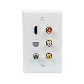 New easy installation 1 HDMI 1 Cat5e Ethernet 1 Coax 3 RCA Red White Yellow Wall Plate