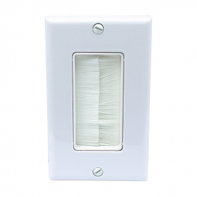 Single Gang Wall Plate with Brush Bristles Now Fits Larger Cables - White