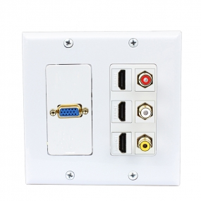 1port Vga jack connector 3port HDMI and 3port  RCA Wall plate