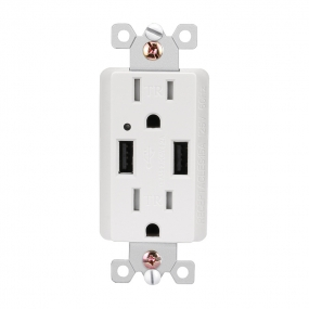 15-Amp USB Charger/Tamper Resistant Duplex Receptacle, Ivory