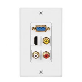 1 HDMI and 1 VGA and 3 RCA wall plate