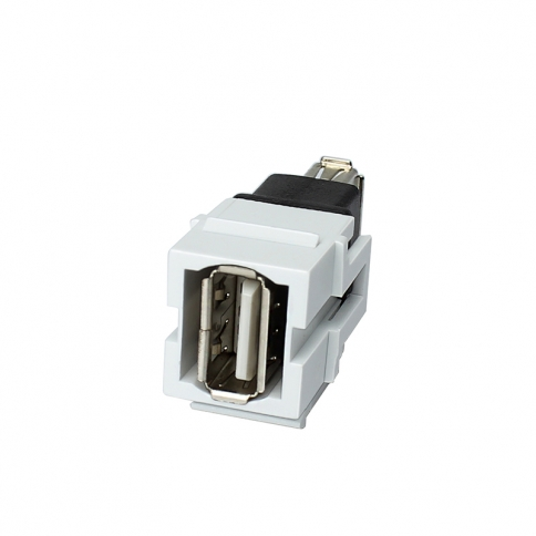 Keystone Jack USB 2 Type A Female//A Female  Coupler Type  White Wall plate