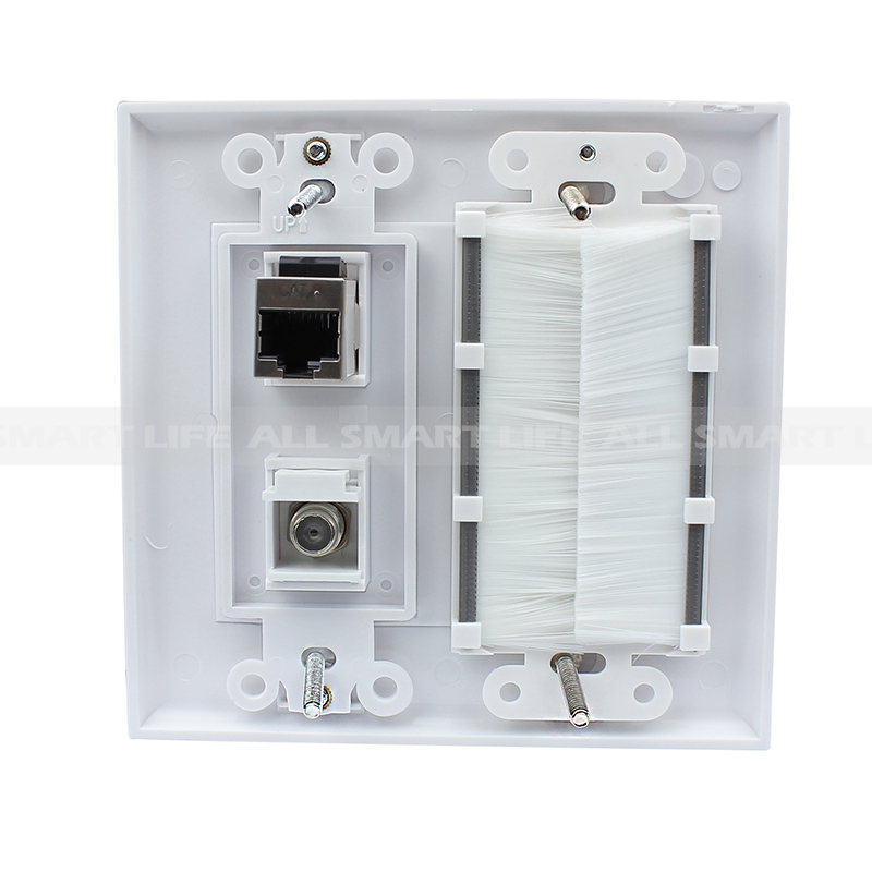 convenient panel 1 gang brush 1port coax 1 port shielded cat6 decorative outlet covers