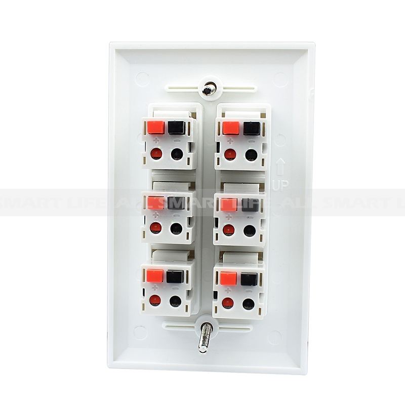 6 port Dual Speaker Spring Clip Keystone wall plate