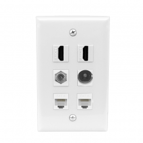 Multifunction 2 Port HDMI and 1 Port Toslink and 1 Coax Cable TV- F-Type and 2 port CAT6 wall plate