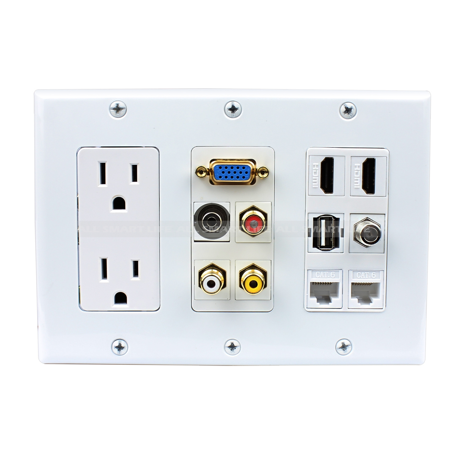 Multipurpose Design 2x Power Outlet Hdmi 1x Usb 3x Rca Cat6 Wiring Wall Plate Home Plates Custom 35mm 1xvga 1xf Type