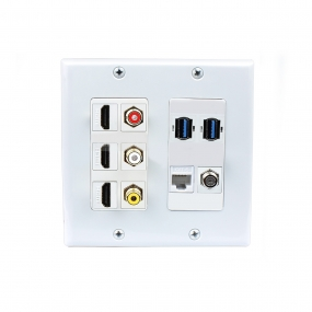 Multifunctional combination 3x HDMI 3x RCA 2x USB 3.0 A-A 1x CAT6 1XCoax Cable F Type Wall Plate White