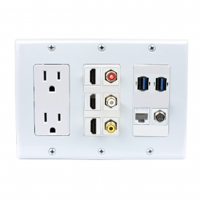 Multifunctional combination 2xPower Outlet 3x HDMI 3x RCA 2x USB 3.0 A-A 1x CAT6 1XCoax Cable F Type Wall Plate White
