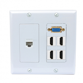2 Gang decorative Wall Plate 1 Port VGA 4 Port HDMI 1 Port Cat5e Ethernet