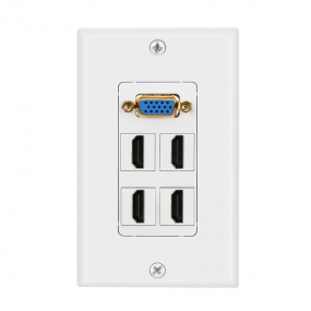 Combined panel with  1 port VGA  4 port HDMI wall plate