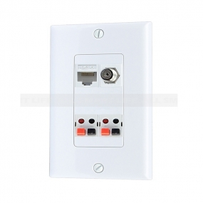 Combination 1 Port Coax Cable TV- F-Type 1 Port Cat6 2 port Speaker Wall Plate