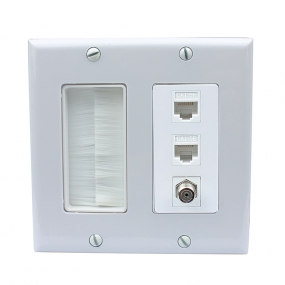 Dual Gang Wall Plate 1 Port Coax Cable TV- F-Type 2 Port Cat5e Ethernet  with decorating brushes